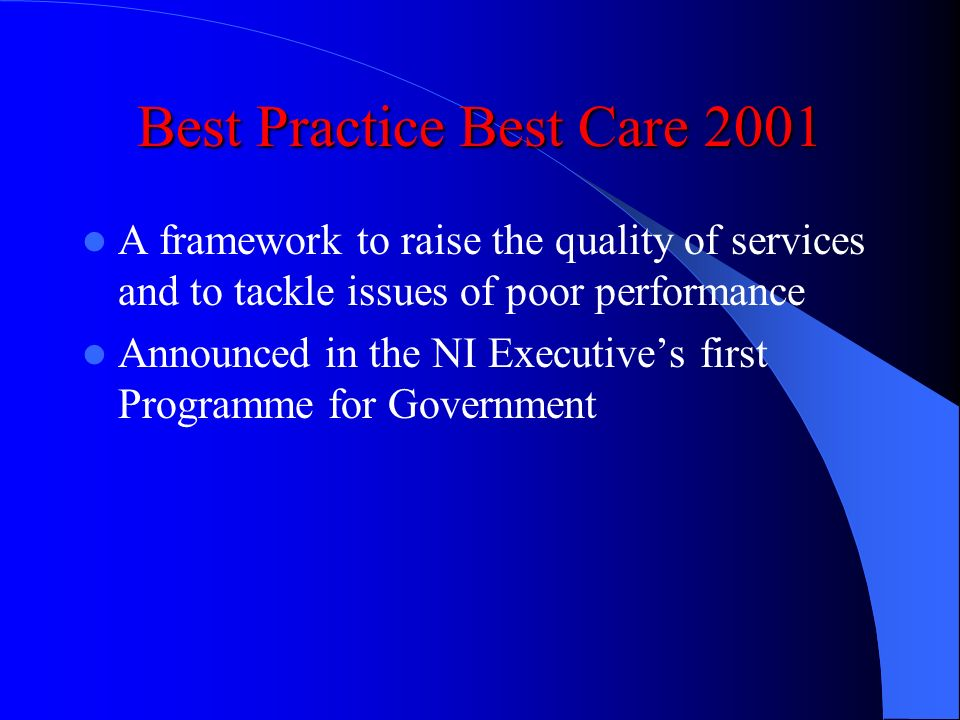 Best Practice Best Care 2001