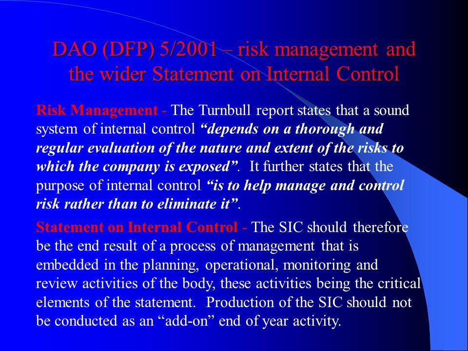 DAO (DFP) 5/2001 – risk management and the wider Statement on Internal Control