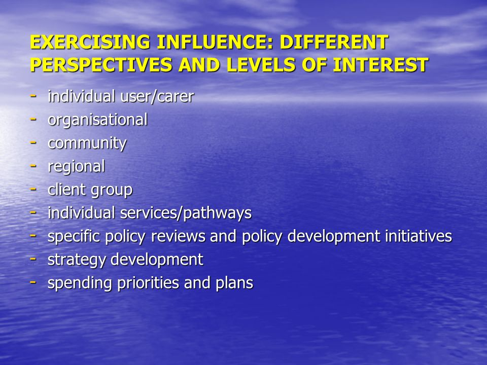 EXERCISING INFLUENCE: DIFFERENT PERSPECTIVES AND LEVELS OF INTEREST