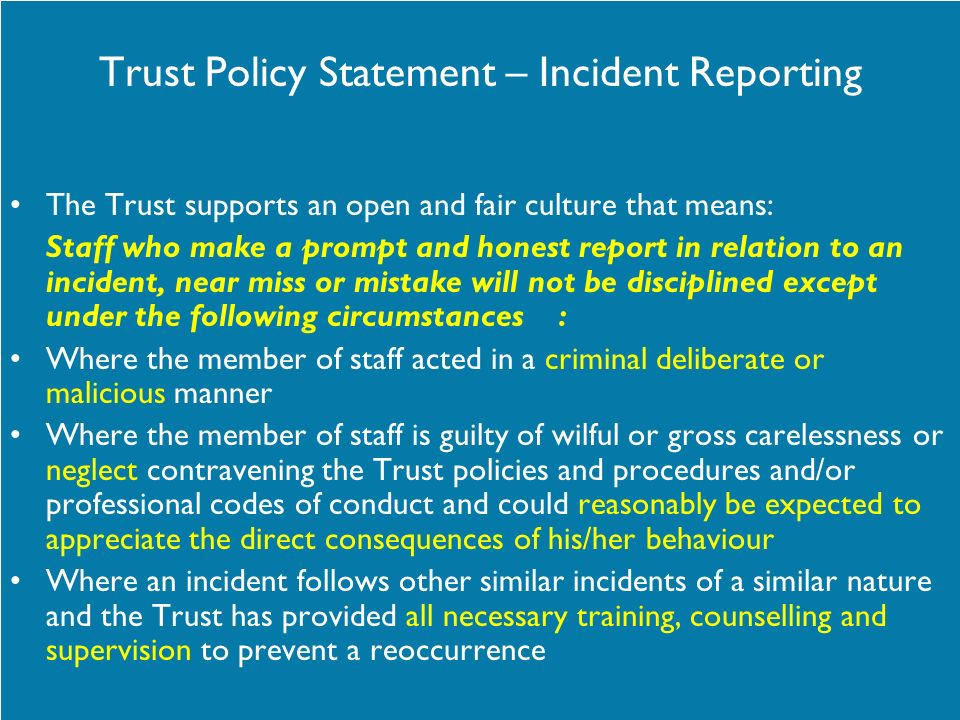 Trust Policy Statement – Incident Reporting