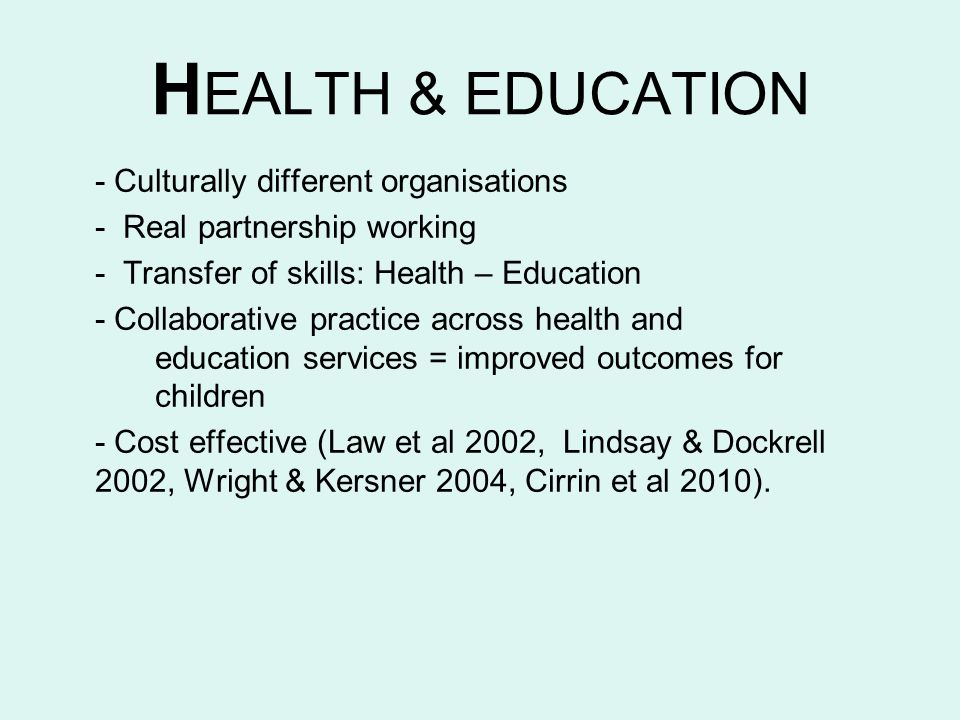 HEALTH & EDUCATION - Culturally different organisations