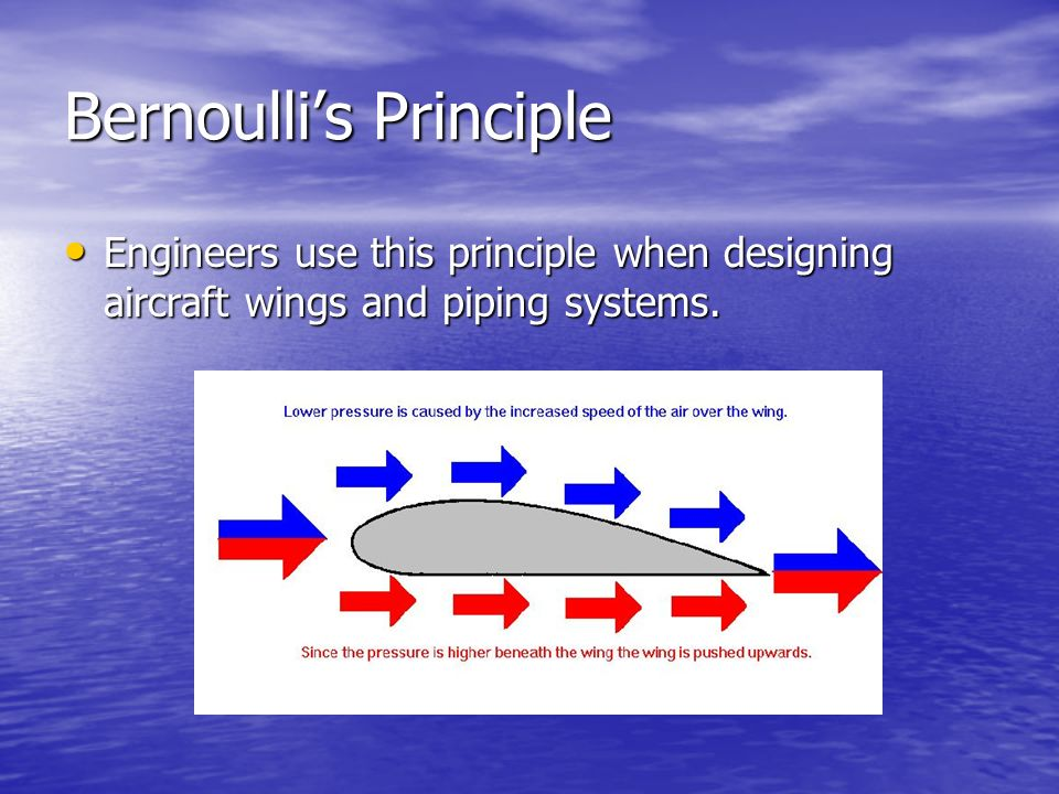 the uses of bernoullis principle engineering essay The conservation of energy principle defined by the first law of thermodynamics says that when all of the fuel's energy is released by burning in the engine's.