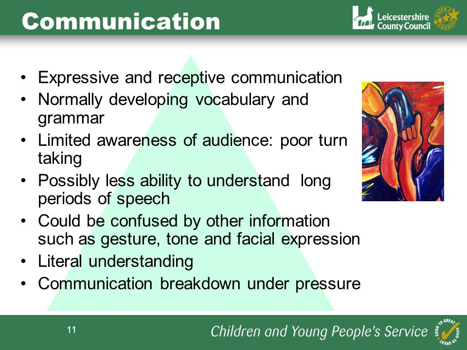Communication Expressive and receptive communication