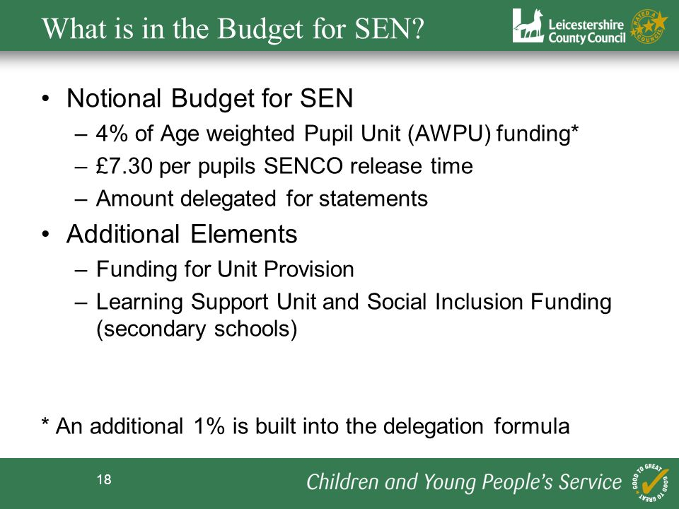 What is in the Budget for SEN