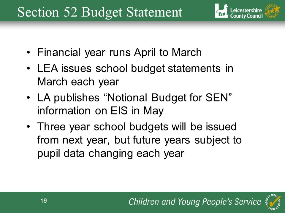 Section 52 Budget Statement