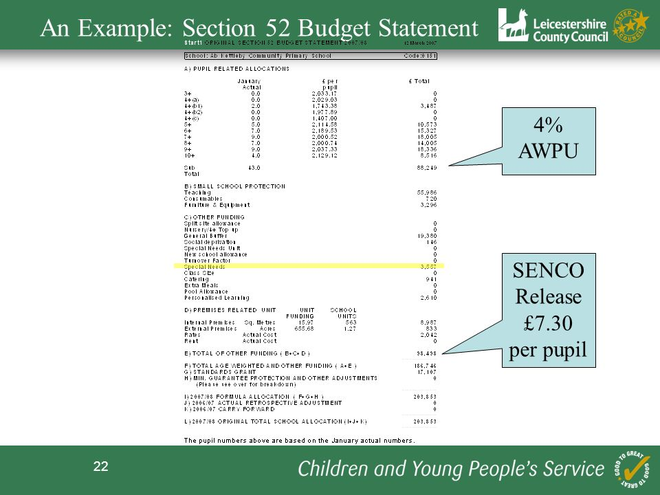 An Example: Section 52 Budget Statement