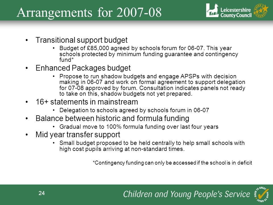 Arrangements for Transitional support budget
