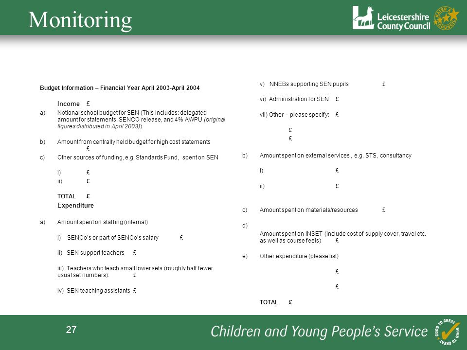 Monitoring v) NNEBs supporting SEN pupils £