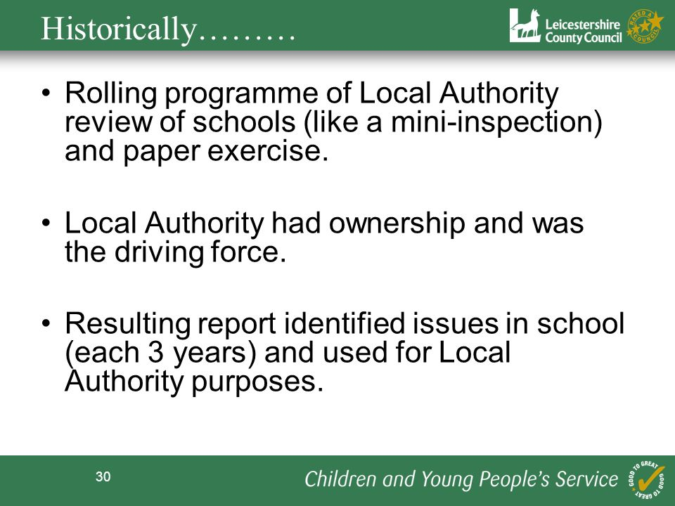 Historically……… Rolling programme of Local Authority review of schools (like a mini-inspection) and paper exercise.