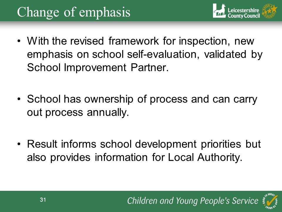 Change of emphasis With the revised framework for inspection, new emphasis on school self-evaluation, validated by School Improvement Partner.