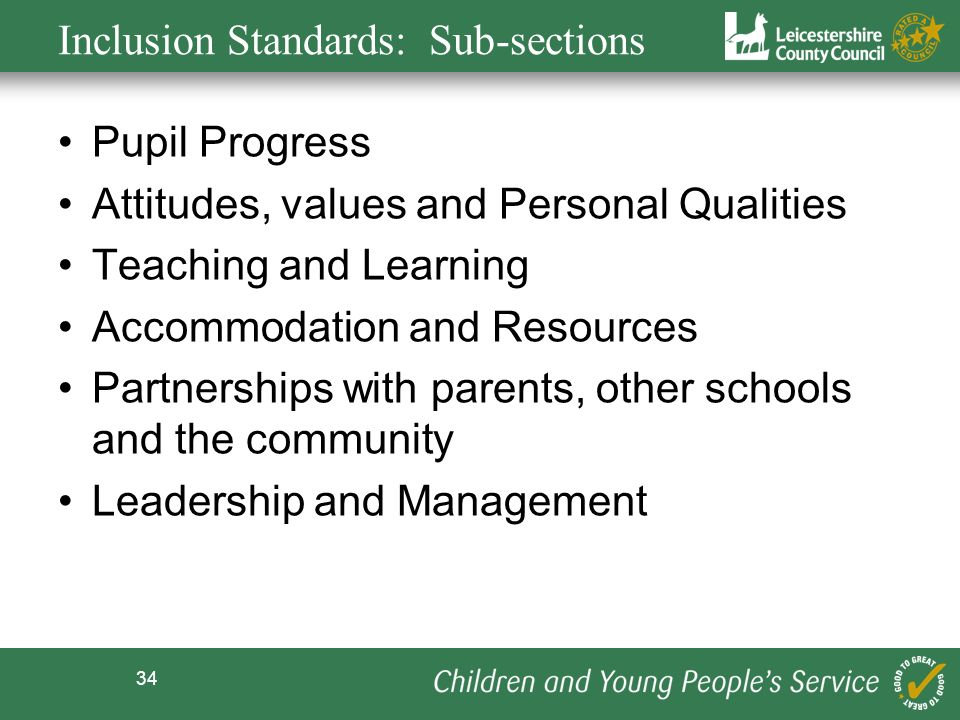 Inclusion Standards: Sub-sections