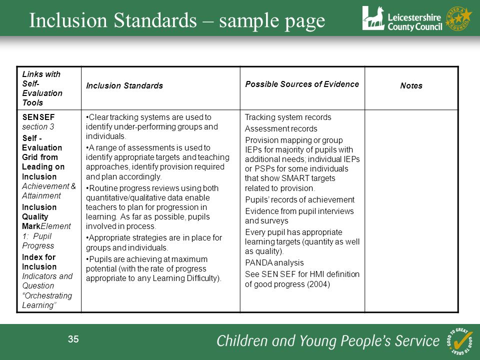 Inclusion Standards – sample page