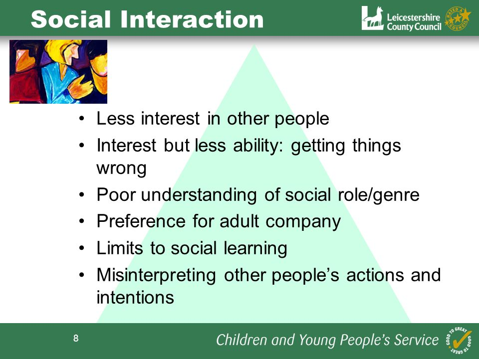 Social Interaction Less interest in other people