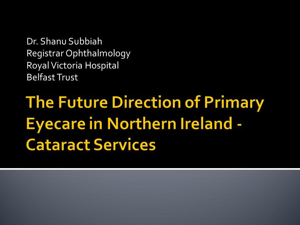 Dr. Shanu Subbiah Registrar Ophthalmology. Royal Victoria Hospital. Belfast Trust.