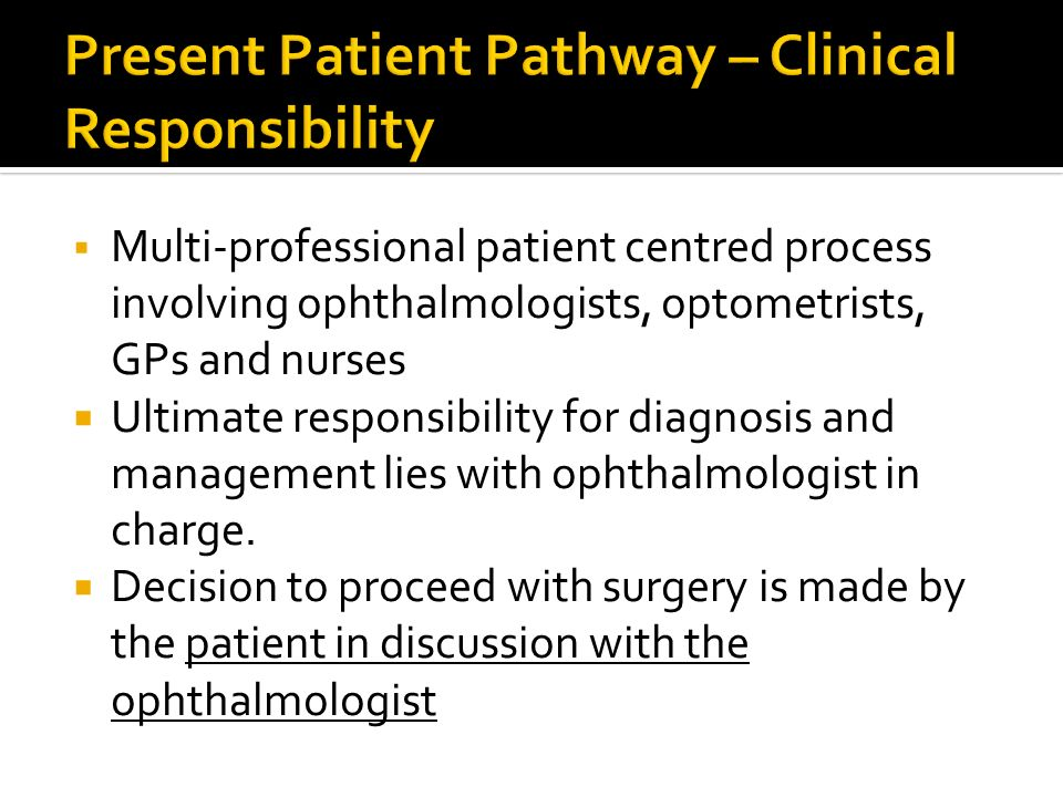 Present Patient Pathway – Clinical Responsibility
