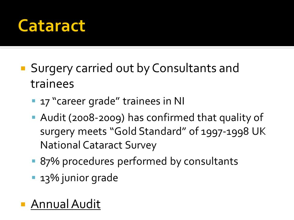 Cataract Surgery carried out by Consultants and trainees Annual Audit