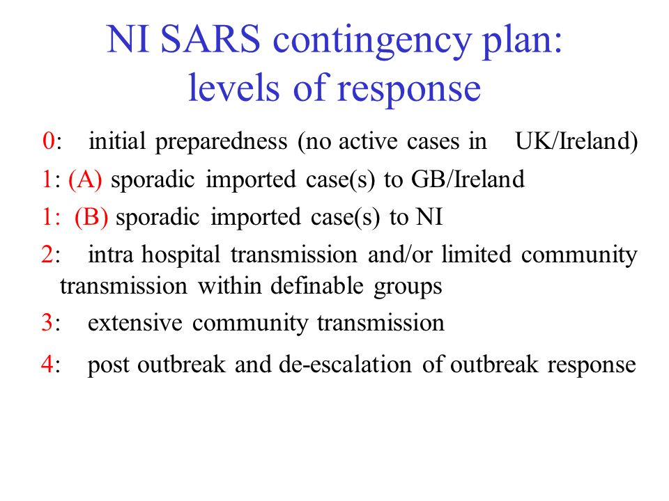 NI SARS contingency plan: levels of response