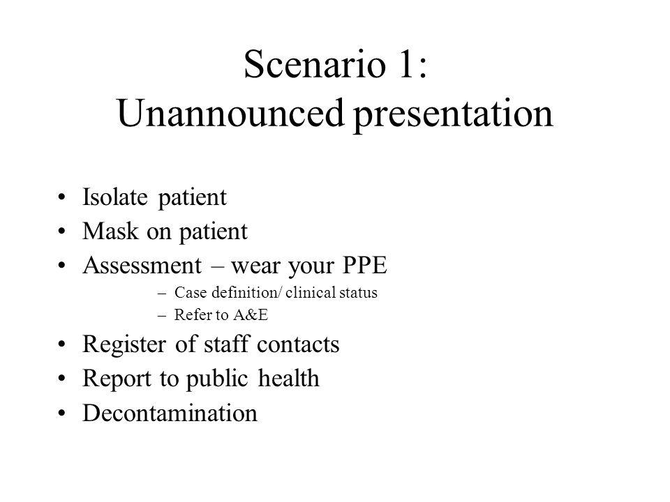 Scenario 1: Unannounced presentation