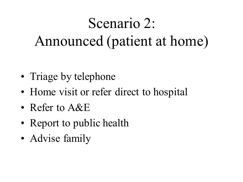 Scenario 2: Announced (patient at home)