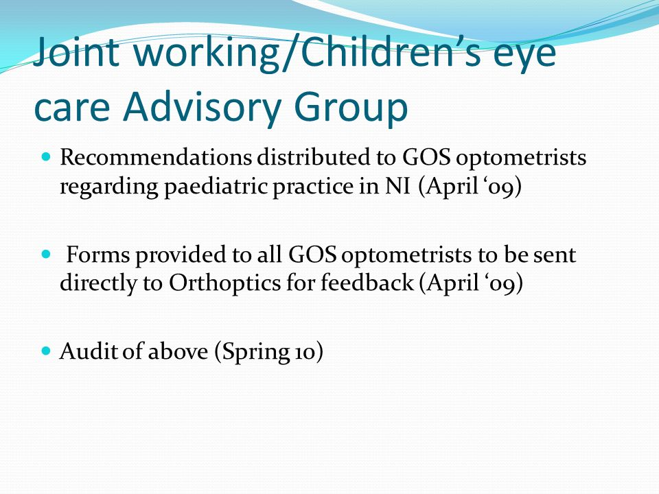 Joint working/Children's eye care Advisory Group