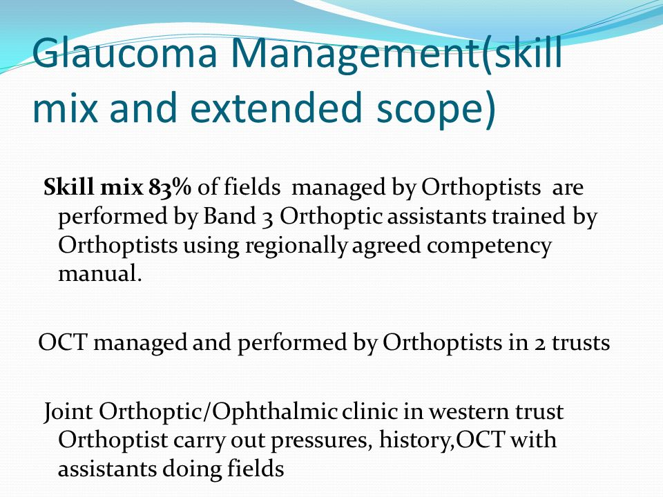 Glaucoma Management(skill mix and extended scope)