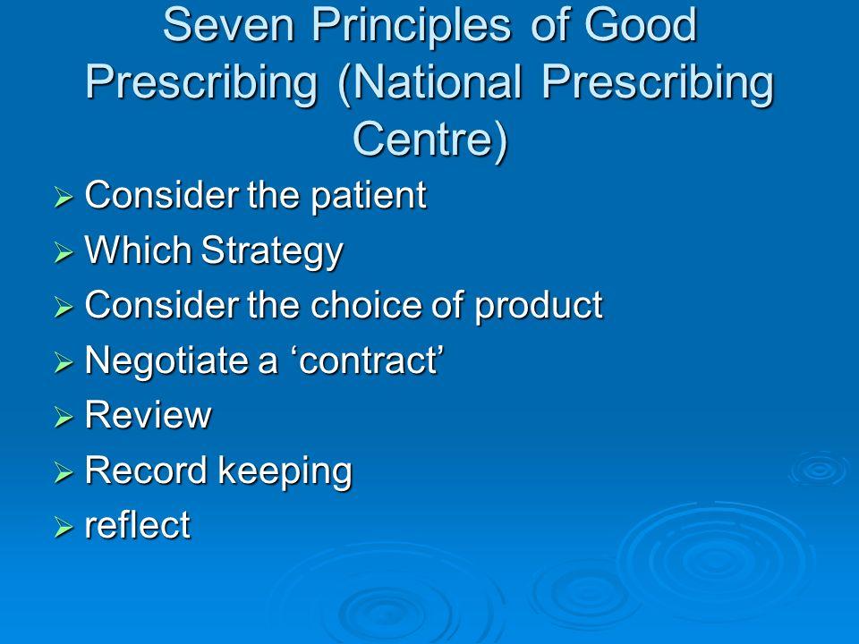 Seven Principles of Good Prescribing (National Prescribing Centre)