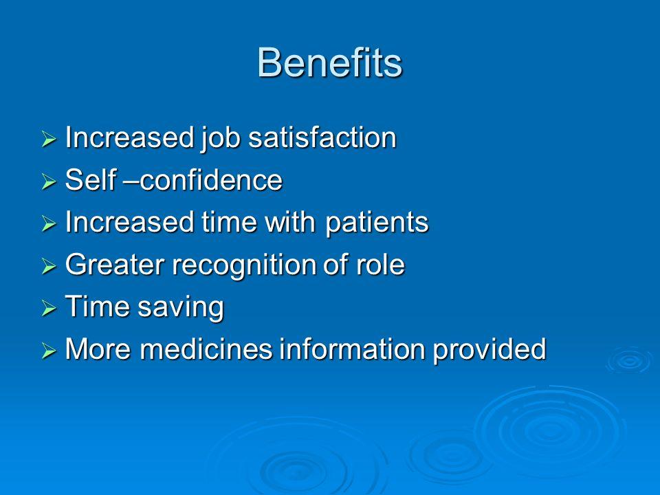 Benefits Increased job satisfaction Self –confidence
