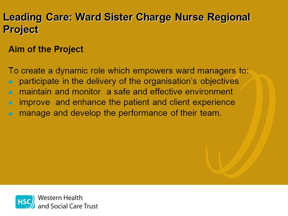 Leading Care: Ward Sister Charge Nurse Regional Project