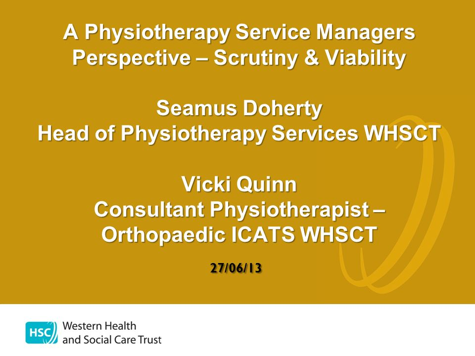 A Physiotherapy Service Managers Perspective – Scrutiny & Viability Seamus Doherty Head of Physiotherapy Services WHSCT Vicki Quinn Consultant Physiotherapist – Orthopaedic ICATS WHSCT 27/06/13