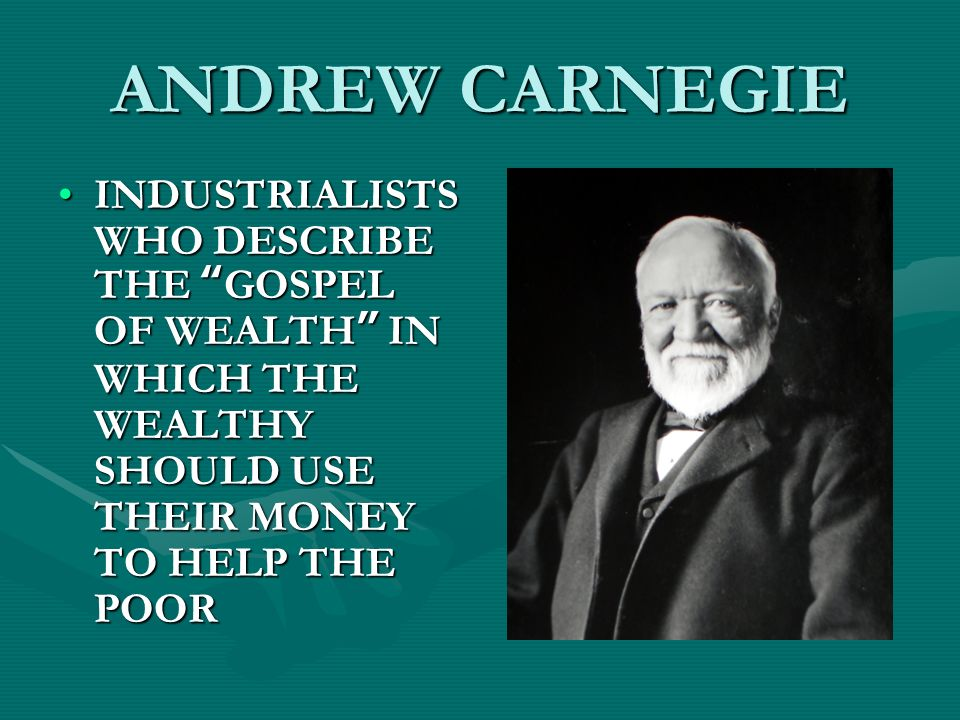 andrew carnegie the gospel of wealth essay American history essays: the gospel of wealth written by andrew carnegie.