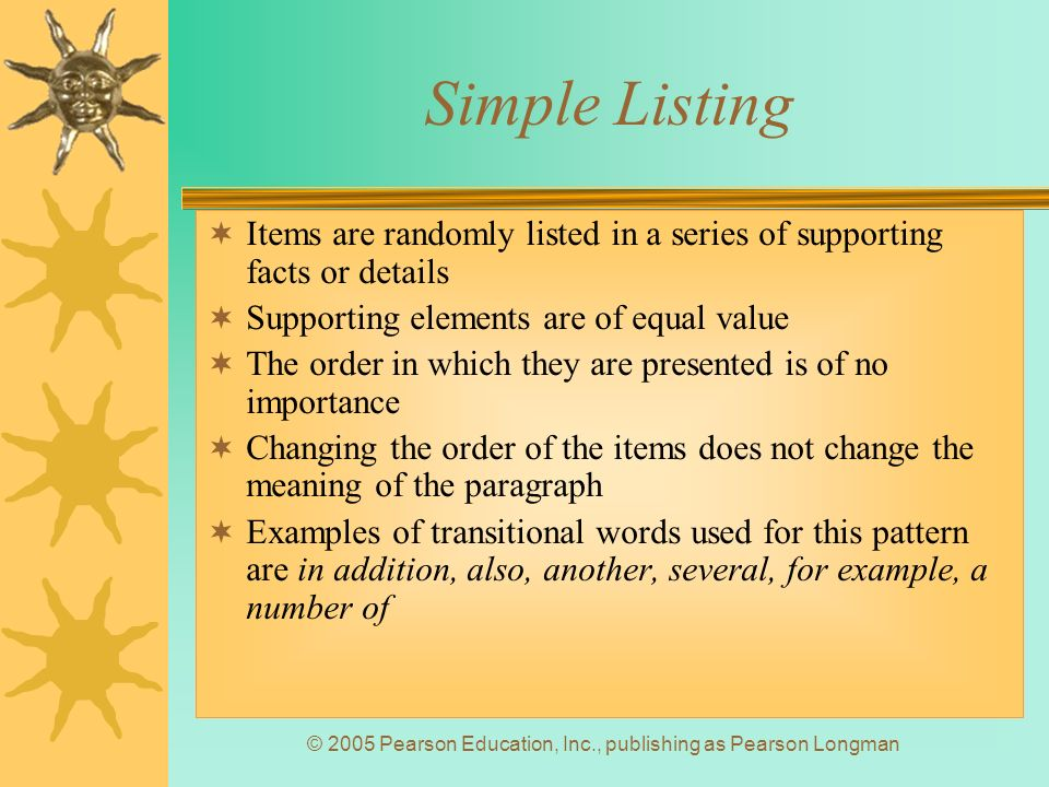 Chapter 5 Patterns of Organization ppt download – Simple Listing Words