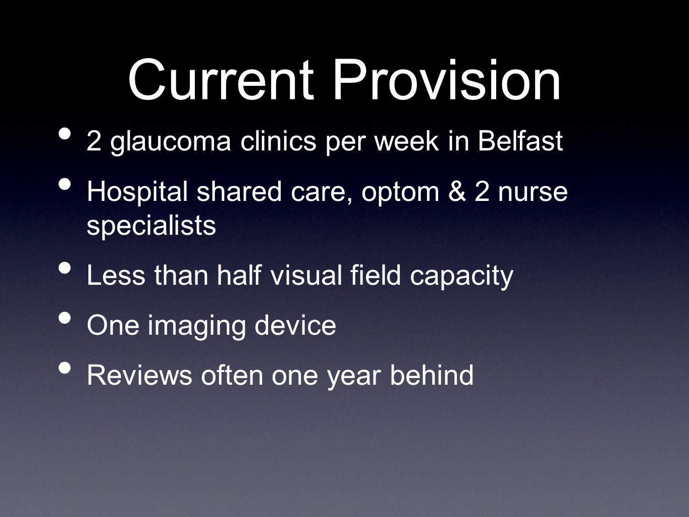 Current Provision 2 glaucoma clinics per week in Belfast