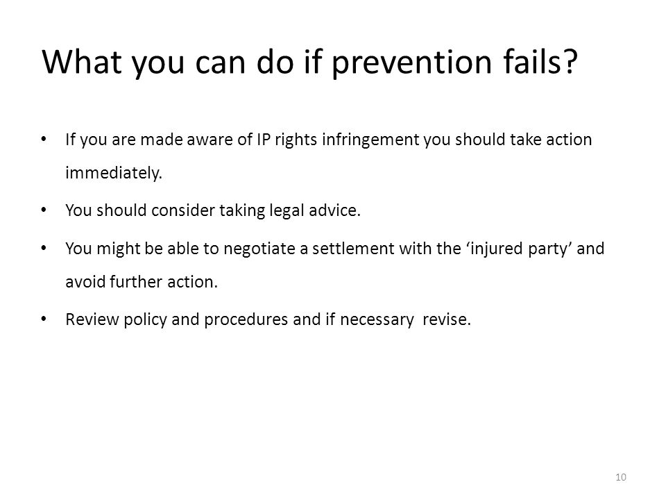 What you can do if prevention fails