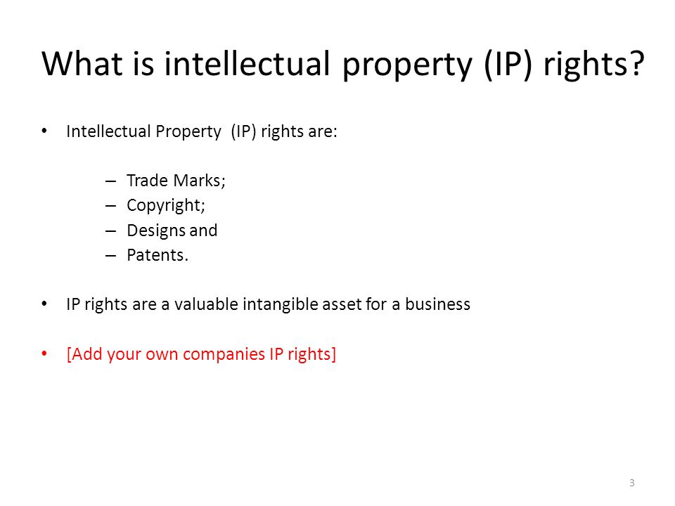 What is intellectual property (IP) rights
