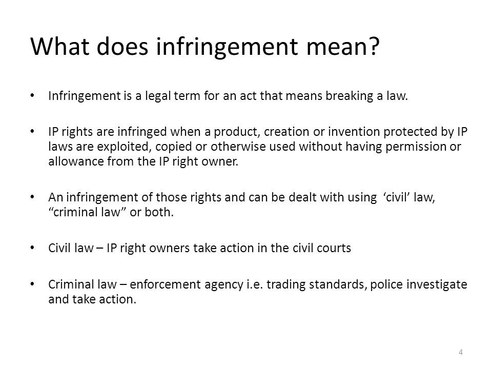What does infringement mean