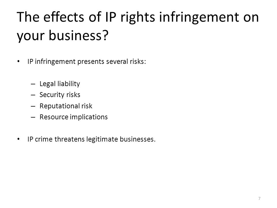 The effects of IP rights infringement on your business
