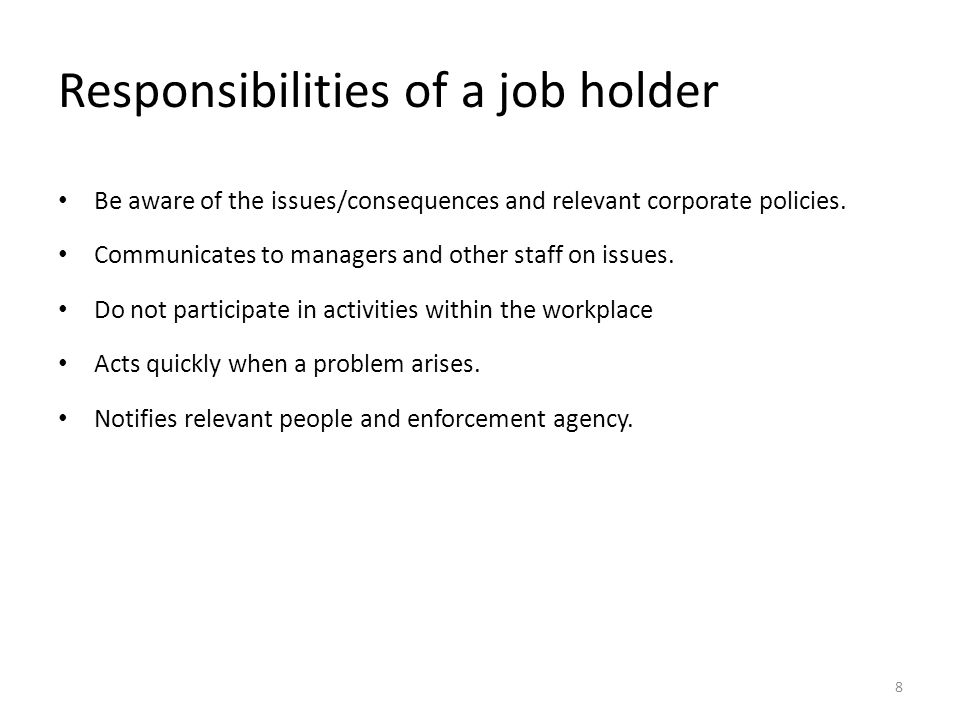 Responsibilities of a job holder