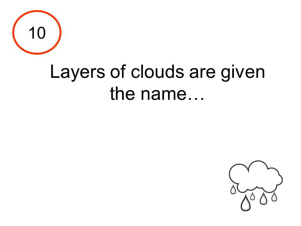 Layers of clouds are given the name…