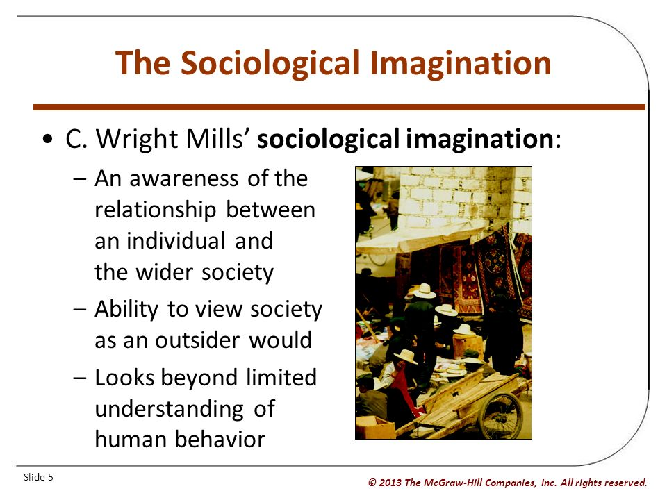 an awareness of the relationship between individual and wider society
