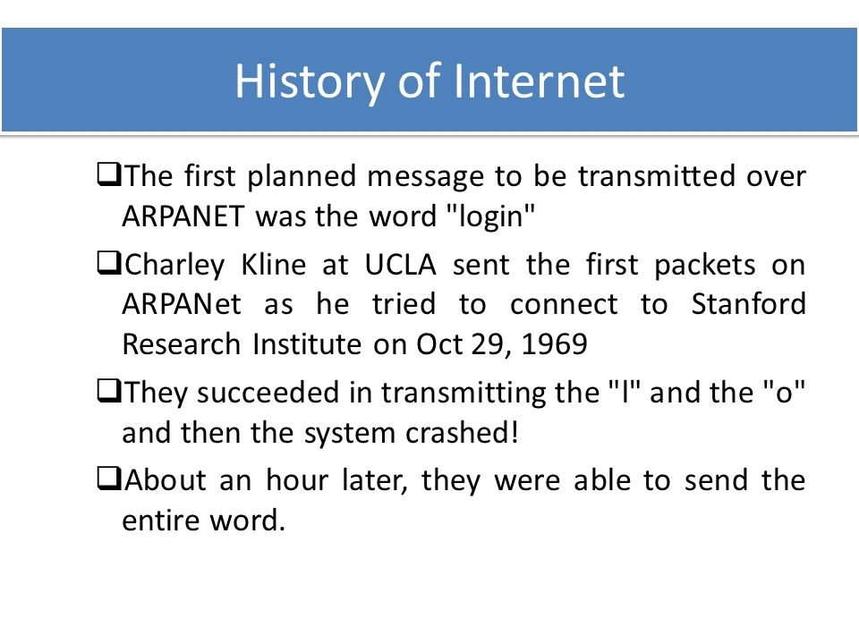 the origin of the internet from arpanet The internet at 40 the internet at 40: how arpanet laid the foundations last week, the guardian published an interactive people's history of the internet telling the story of how that happened and interviewing some of the people who made it so.