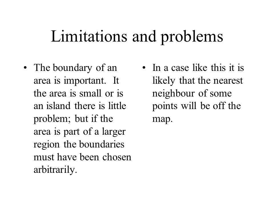Limitations and problems