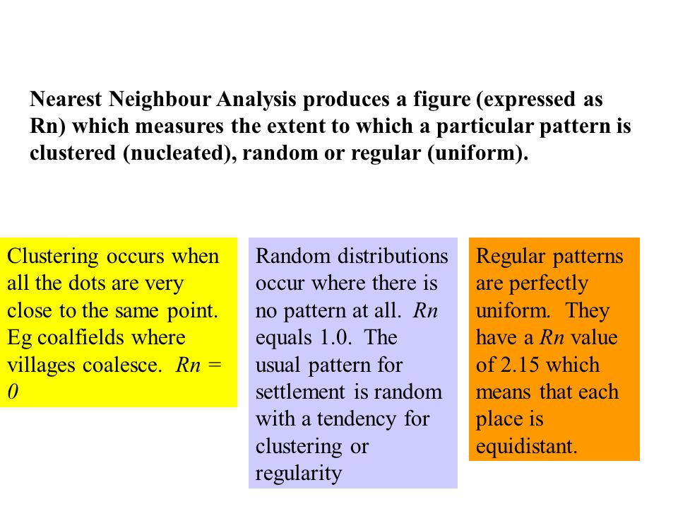 Nearest Neighbour Analysis produces a figure (expressed as Rn) which measures the extent to which a particular pattern is clustered (nucleated), random or regular (uniform).