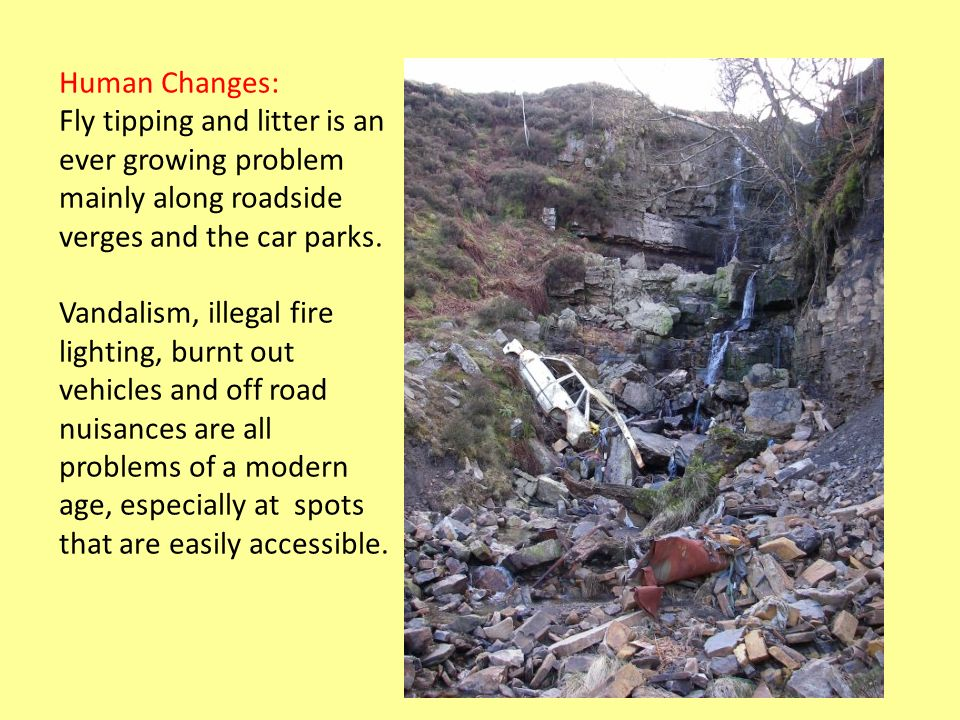 Human Changes: Fly tipping and litter is an ever growing problem mainly along roadside verges and the car parks.