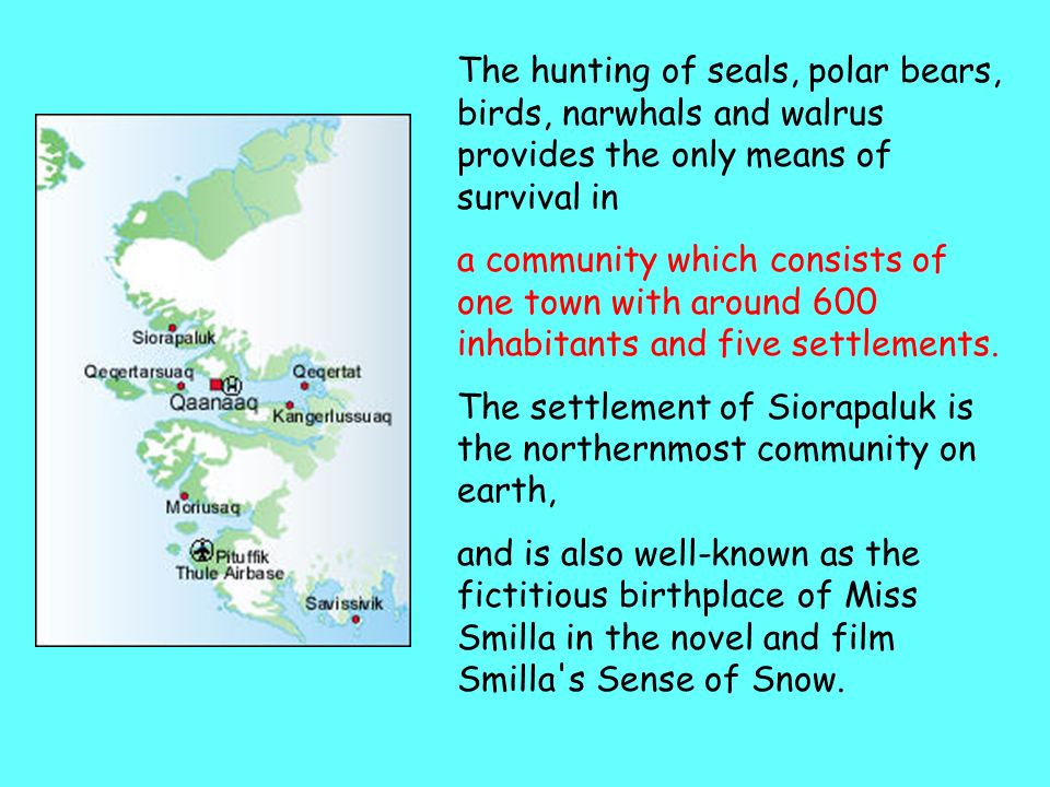 The hunting of seals, polar bears, birds, narwhals and walrus provides the only means of survival in