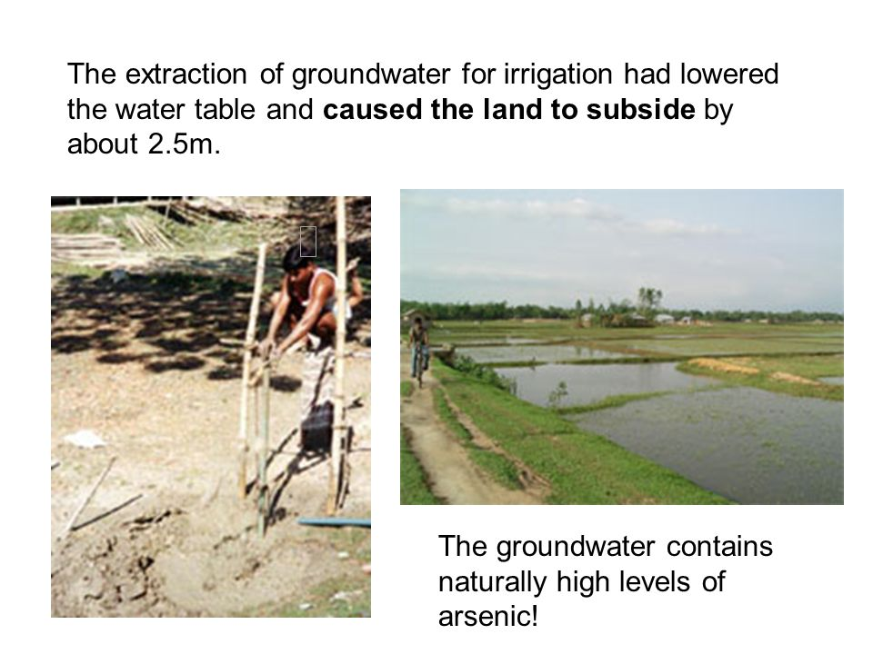 The groundwater contains naturally high levels of arsenic!