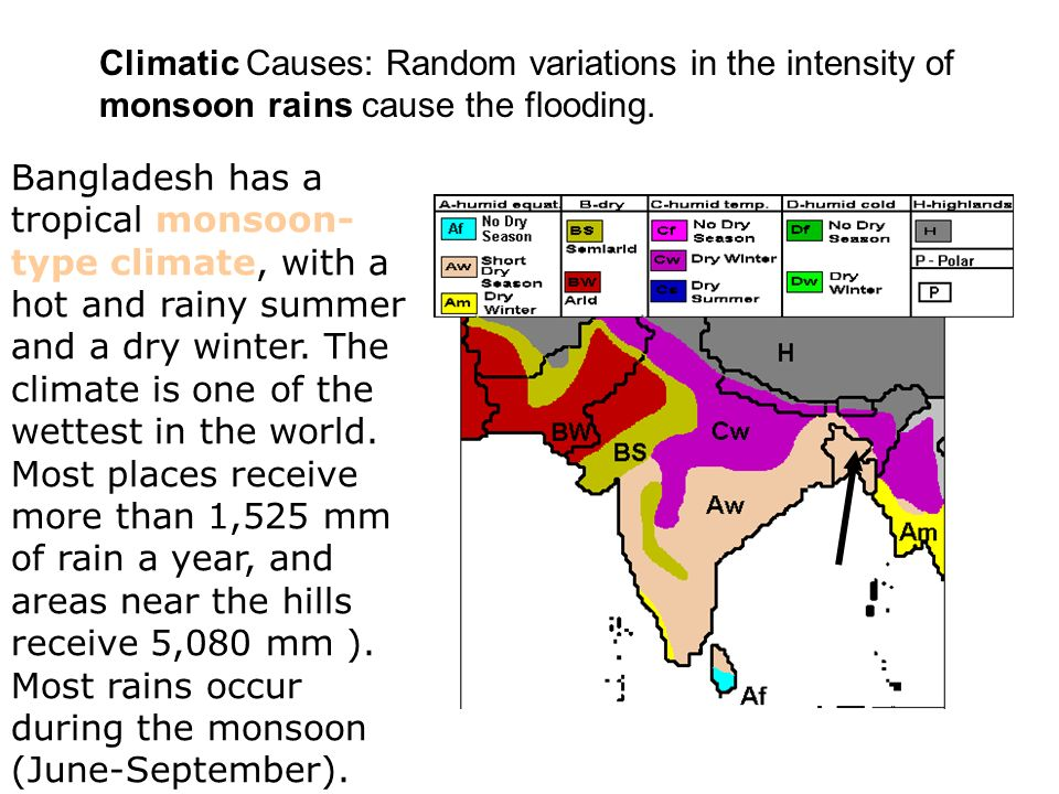 Climatic Causes: Random variations in the intensity of monsoon rains cause the flooding.