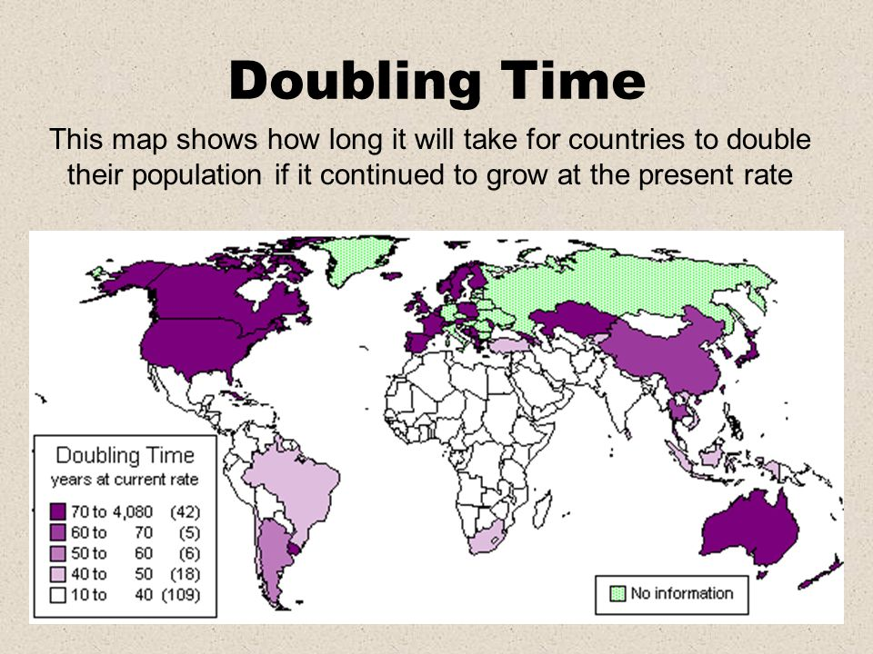 Doubling TimeThis map shows how long it will take for countries to double their population if it continued to grow at the present rate.