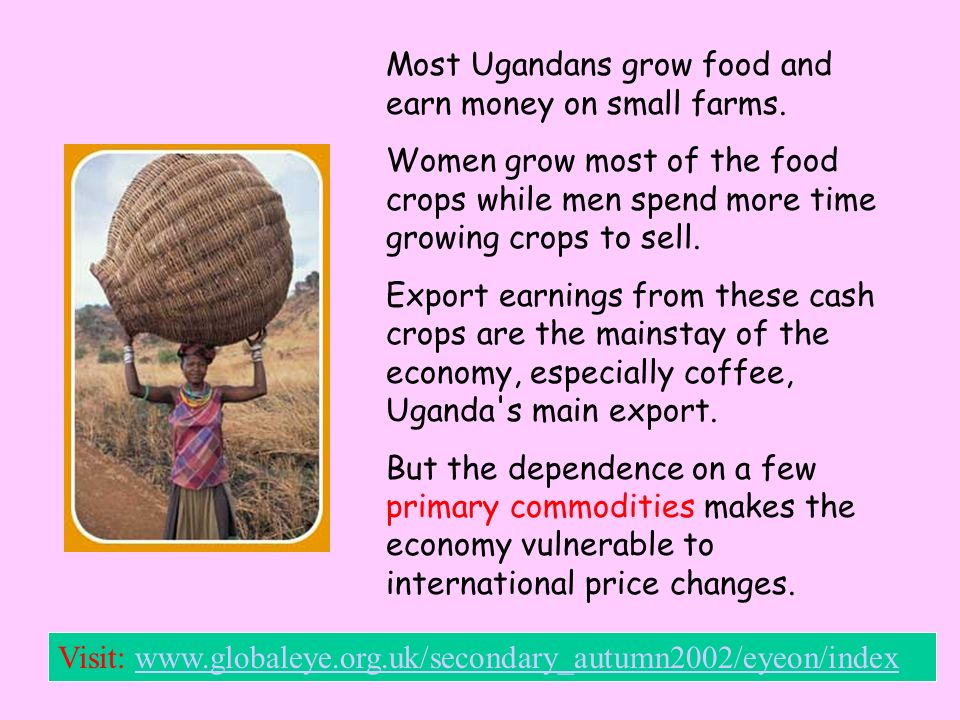Most Ugandans grow food and earn money on small farms.