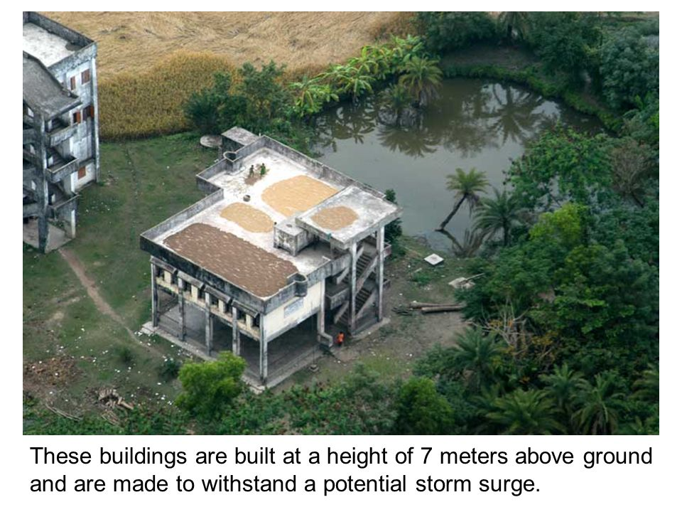 These buildings are built at a height of 7 meters above ground and are made to withstand a potential storm surge.