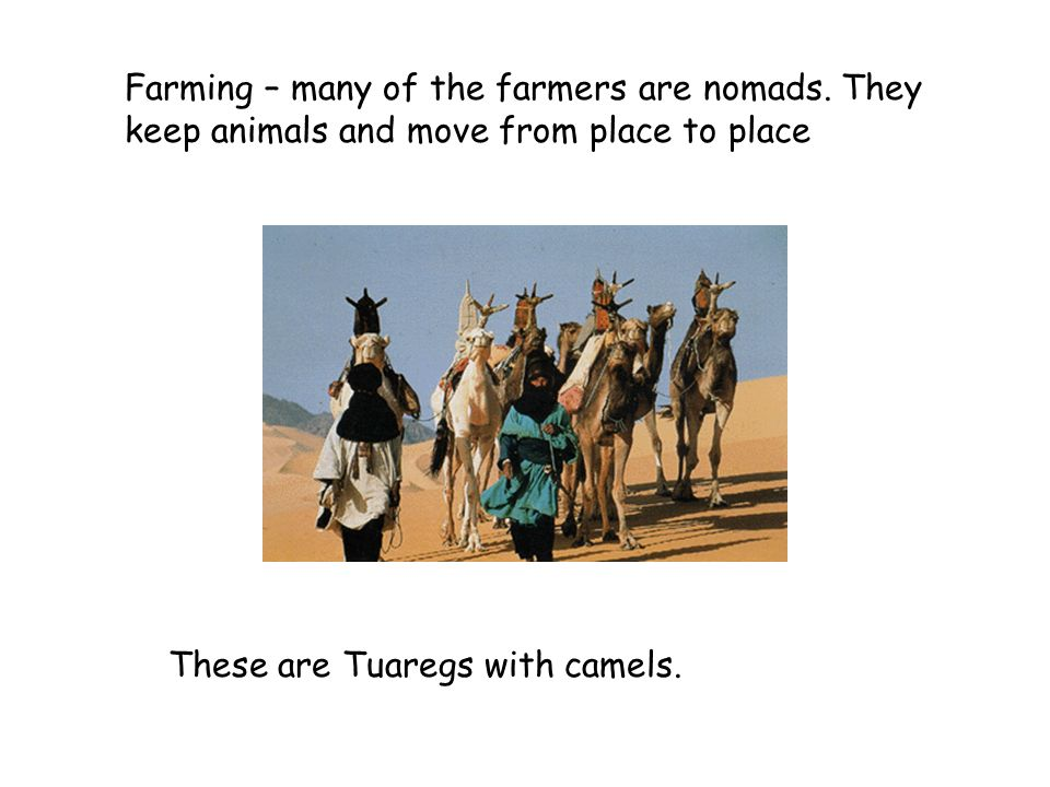 Farming – many of the farmers are nomads
